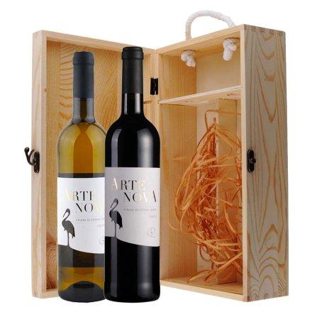 葡萄牙后现代艺术干红+干白葡萄酒双支松木礼盒