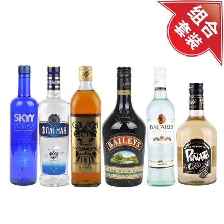 深蓝伏特加+旗舰伏特加700ml+克兰格威士忌 +百利甜酒+百加得超级朗姆酒+金碧纳托菠萝威士忌利口酒700ml