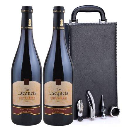 法国拉格斯2009干红葡萄酒黑色双支皮盒