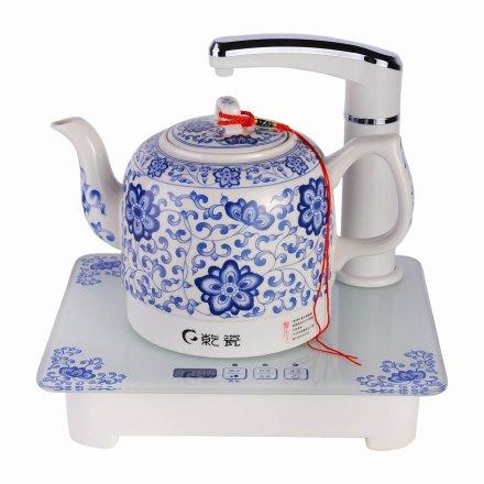 景德镇乾瓷青花吉祥直饮茶坊陶瓷电热水壶(乐享)