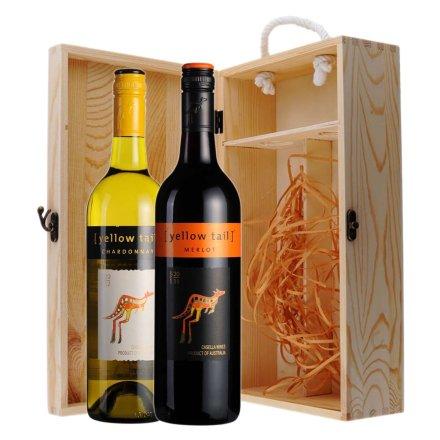 黄尾袋鼠梅洛干红+霞多丽干白葡萄酒双支松木礼盒
