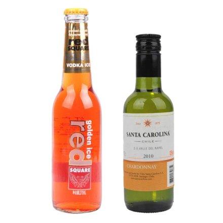 (清仓)5.1°红广场金冰预调酒麦芽糖桔子味270ml+(清仓)智利圣卡罗雪当利白葡萄酒187.5ml