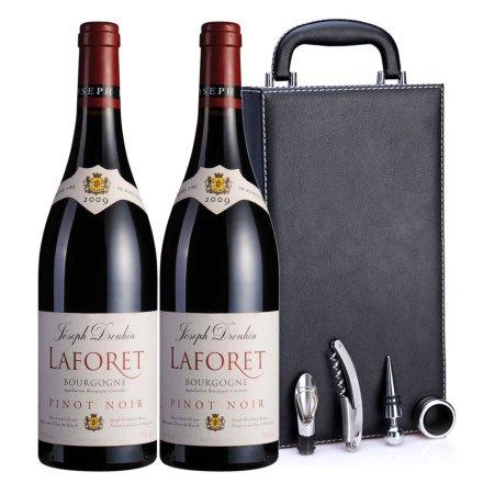 法国约瑟夫杜鲁安拉佛瑞2009红葡萄酒黑色双支皮盒