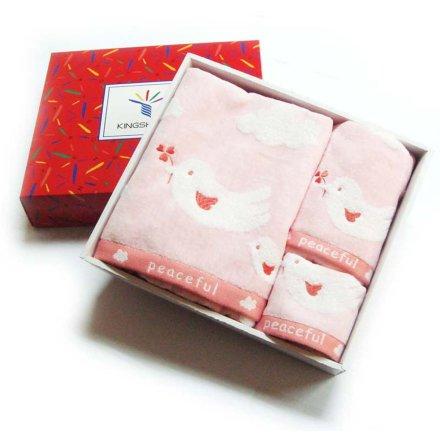 金号和平鸽三件套礼盒(方巾、毛巾、浴巾)