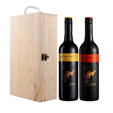 澳大利亚黄尾袋鼠西拉干红葡萄酒+澳大利亚黄尾袋鼠加本力苏维翁干红葡萄酒+双支松木盒