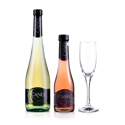 意大利肯爱低泡白葡萄酒750ml+玫瑰红起泡酒200ml+香槟杯190ml