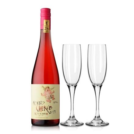 智利蒙特斯小天使西拉桃红葡萄酒750ml+集美红酒玻璃香槟杯(乐享)