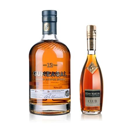 人头马CLUB特优香槟干邑350ml+40°英国鹰勇12年调配型苏格兰威士忌700ml
