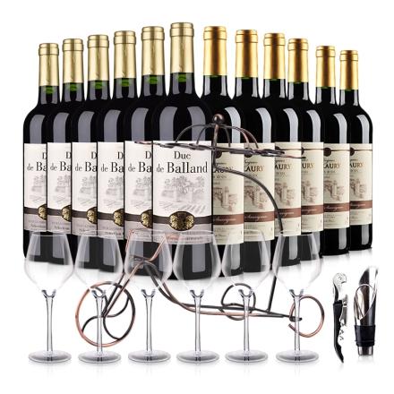 法国进口菈维6支+巴朗德公爵6支干红葡萄酒豪华大礼包