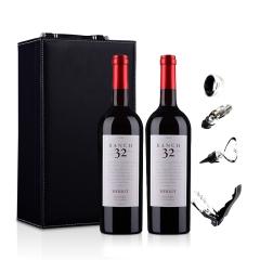 美国32领域梅洛干红葡萄酒750ml双支皮盒装