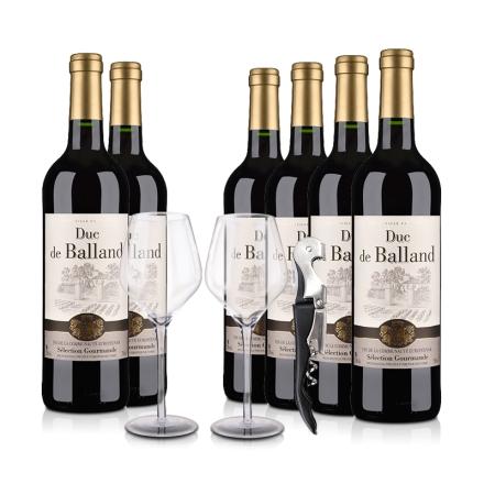 【大闹11.11】法国巴朗德公爵干红葡萄酒750ml*6瓶装(酒杯酒刀)