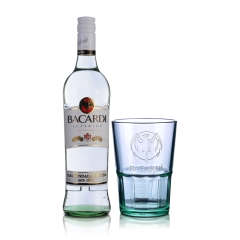 40°百加得白朗姆酒750ml+  百加得洋酒杯