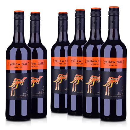 【炫酷爆品日】澳洲整箱红酒澳大利亚黄尾袋鼠梅洛红葡萄酒(6瓶装)