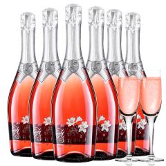 意大利原瓶进口红酒恋爱季低醇起泡酒桃红葡萄酒气泡酒6支装送香槟杯750ml*6