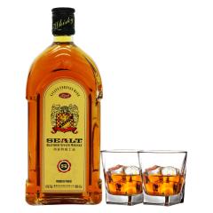 40°西亚特方瓶威士忌洋酒700ml*1瓶+洋酒杯*2
