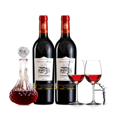 法国红酒梦诺圣凯瑞AOP干红葡萄酒750ml*2+醒酒器+2酒杯+酒刀