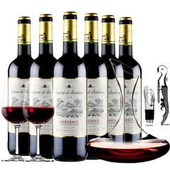 法国红酒波尔多原瓶进口AOC级爵爷2012/2014干红葡萄酒整箱醒酒器装750ml*6