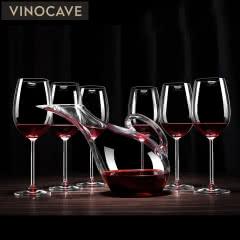 Vinocave红酒杯 葡萄酒高脚杯 快速醒酒酒具套装 300毫升酒杯6支+天鹅醒酒器
