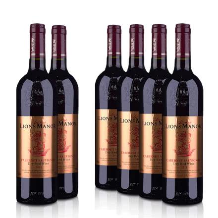 法国原酒进口雄狮酒庄赤霞珠干红葡萄酒750ml*6