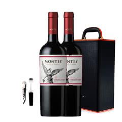智利进口蒙特斯经典赤霞珠干红葡萄酒750ml*2+双支装皮盒