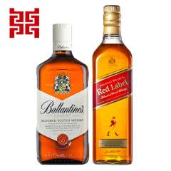 尊尼获加红牌700ml+百龄坛特醇700ml苏格兰威士忌 进口洋酒组合套装