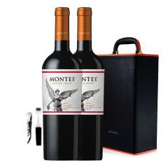智利进口蒙特斯欧法玛尔贝干红葡萄酒750ml*2 +双支装皮盒