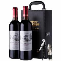 法国原酒进口红酒罗蒂纳菲尔干红葡萄酒双支2支皮箱礼盒装  750ml*2