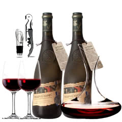 法国原瓶进口红酒教皇新堡芙华隆河丘产区AOC级干红葡萄酒双支醒酒器装750ml*2