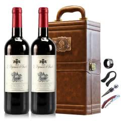 法国红酒法国(原瓶进口)天使爱美丽半甜红葡萄酒双支皮盒红酒礼盒装750ml*2