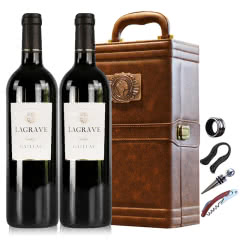 法国红酒法国(原瓶进口)特酿干红葡萄酒双支皮盒红酒礼盒装750ml*2
