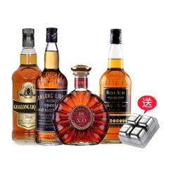 40°卡柏隆Xo狮王领衔白兰地威士忌4支套装送不锈钢冰粒