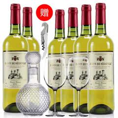 法国红酒法国(原瓶进口)葛拉芙男爵干白葡萄酒750ml*6支装