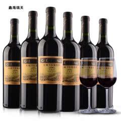 中国长城星级四星赤霞珠干红葡萄红酒整箱750ml*6瓶送酒杯酒具中粮沙城