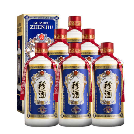 53°珍酒珍五 贵州酱香型白酒礼盒装 易地茅台酒 固态纯粮 500ml*6瓶
