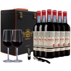 法国整箱红酒 法国原瓶进口柏翠莫埃尔珍藏干红葡萄酒750ml(6瓶套)送礼盒酒杯酒刀