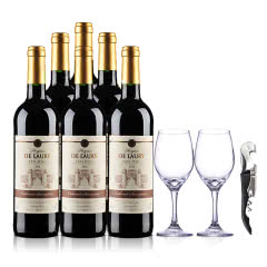 法国菈维干红葡萄酒750ml(6瓶装)+帝豪玻璃红酒杯315ml*2+嘉年华黑珍珠海马酒刀