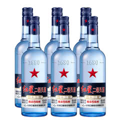 43°红星二锅头蓝瓶绵柔8 500ml(6瓶装) 白酒箱装