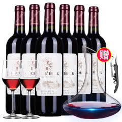 西班牙原酒进口红酒 西亚特干红葡萄酒750ml*6瓶 酒具款
