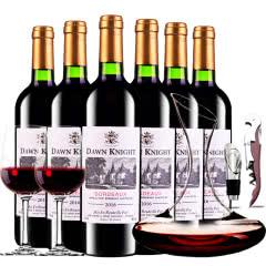 法国进口红酒黎明骑士酿酒师波尔多AOC级干红葡萄酒红酒整箱醒酒器装750ml*6