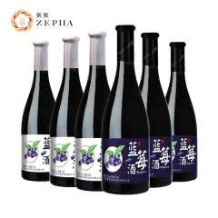 紫斐蓝莓酒红酒半甜酒果酒750ml*6支 蓝田莓域 原汁果酒 低度甜酒