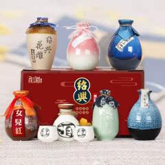 【送陶瓷酒具】绍兴黄酒六瓶不同味道花雕酒女儿红桃花醉米酒整箱装礼盒花雕王