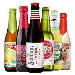 欧洲进口水果啤酒6种组合樱桃粉象1664玫瑰林德曼乐蔓等6种