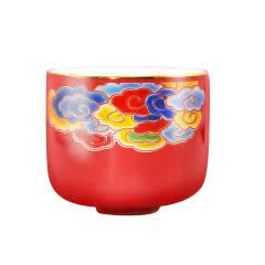 红色富贵彩云酒杯/土豪金福字酒杯 随机发 1组(彩云杯8个或福字杯6个)
