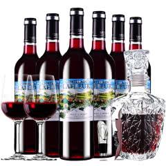 拉斐红酒半甜红葡萄酒红酒整箱醒酒器装750ml*6