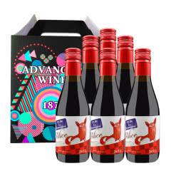 法国原瓶进口红酒小酒 干红葡萄酒187ml*6支礼盒装