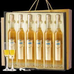 6支冰酒甜酒红酒雷司令冰白葡萄酒女士贵腐香槟酒果酒礼盒装送香槟杯2个+海马刀1个