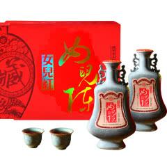 绍兴黄酒女儿红花雕酒龙泉越窑瓷瓶十八年陈500ml*2轻奢商务礼盒