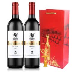 法国原酒进口红酒 精选干红甜红葡萄酒750ml*2支礼袋装