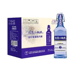 42°华都牌北京二锅头出口型国际方瓶蓝标清香型白酒450ml*12瓶(整箱)