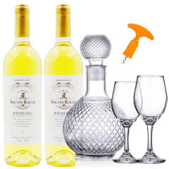 法国原酒进口雷司令干白葡萄酒送醒酒器套装750ml*2瓶